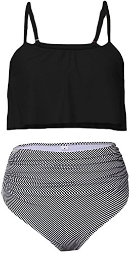 MUXILOVE Damen Niedlich Ruffles Strap Bikini Set mit hoher Taille Crop Top Swimwear Schwarz Medium (Bikini Swimwear Top Damen)