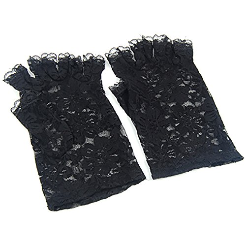 Trixes Kurze schwarze fingerlose Burlesque-Handschuhe mit Spitze im ()