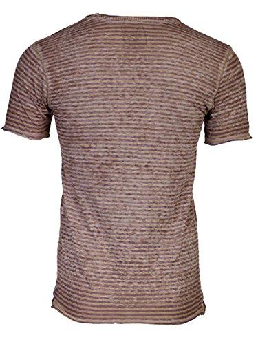 TREVOR'S ISMAEL Herren T-Shirt mit V-Ausschnitt und Streifen aus Baumwolle und Polyester - soziale fair trade Kleidung, Mode vegan und nachhaltig Color dark-sand, Size S - 2