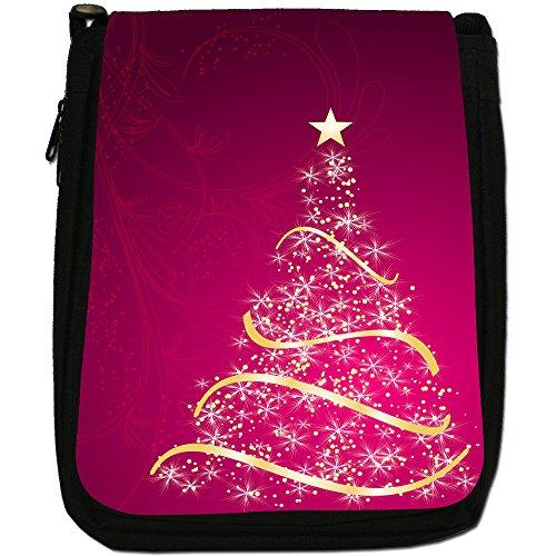 Splendido oro albero di Natale a forma di stella media nero borsa in tela, taglia M Pink Stunning Christmas Tree