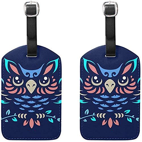Eulen-Entwurfs-Gepäckanhänger-Taschen-Reise-Aufkleber-Umbau für Gepäck-Koffer 2PCS -