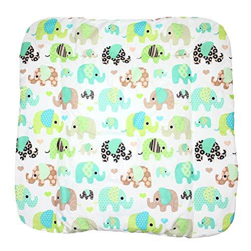 TupTam Baby Wickeltischauflage mit Baumwollbezug Gemustert, Farbe: Elefant Mint, Größe: 75 x 85 cm