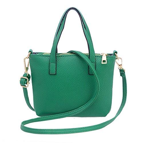 Fashion Tote (hauzet Frauen Fashion Handtasche Tasche Schultertasche Reißverschluss Leder Tote Geldbörse Big Bag L grün)