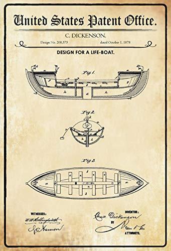 FS Patent Entwurf für EIN Rettungsboot- Schiff Blechschild Schild gewölbt Metal Sign 20 x 30 cm