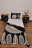 indischen schwarz weiß Urban Dreamcatcher Feder Outfitters Wandteppich Mandala Überwurf Tagesdecke Gypsy Boho Single Twin Doona Bettdeckenbezug und 1Kissenbezug Set 100% Baumwolle 203,2x 137,2cm.