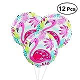BESTOYARD Flamingo-Folien-Ballone Hawaiische Partei-Ballon-Dekoration-Runde Mylar-Helium-Ballone Tropisches Hawaii Luau Partei-Bevorzugungs-Versorgungsmaterialien 12PCS