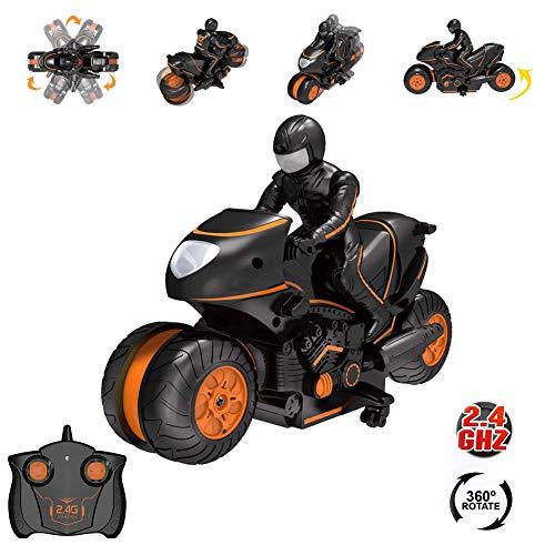 kangOnline Control Remoto Motocicletas Juguete 360 Grados Ruedas de acción Deriva giratoria Stunt Moto Racing Motocicleta Juguetes para niños
