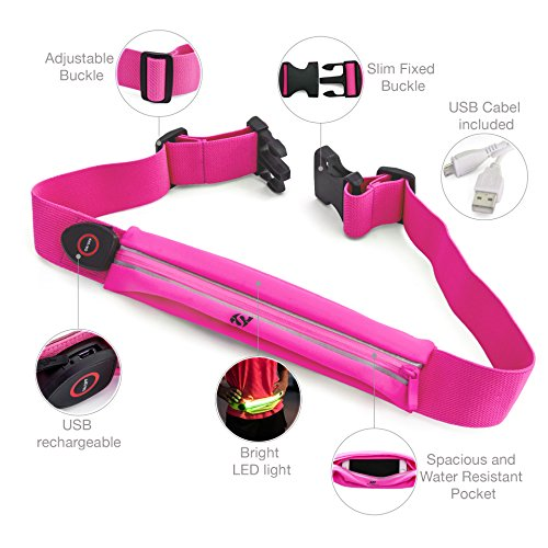 Reflektierende Running Gear von sport2people–LED reflektierende Läufer Gürtel–Laufen Fanny Pack–Runner Taille Pack–reflektierendes Licht Running Gürtel–Hohe Reflektierende Gear für Laufen, W Pink Fluo