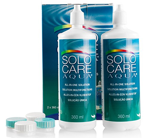 Solocare Aqua 2x360ml – Kontaktlinsenflüssigkeit für Weiche Kontaktlinsen – Kombilösung für das Reinigen, Desinfizieren und Aufbewahren der Linse (All-In-One Lösung) (2 x 360ml)