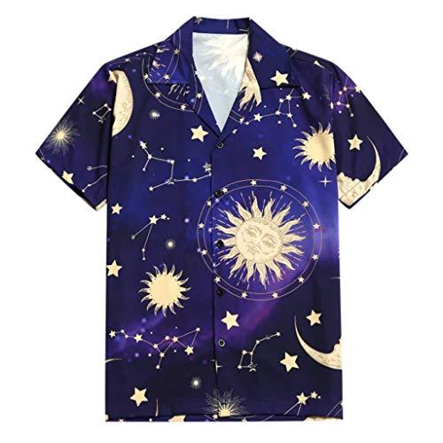 Hawaiihemd | Herren | Kurzarm | Front-Taste | Hawaii-Print | Strand Palmen Meer Revers Star Moon Sun Print -
