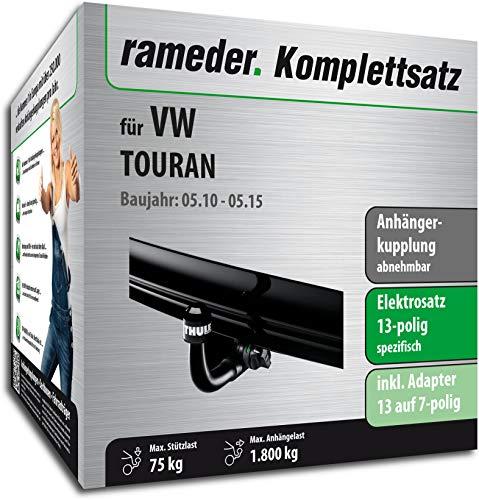 Rameder Komplettsatz, Anhängerkupplung abnehmbar + 13pol Elektrik für VW TOURAN (149185-10449-1)
