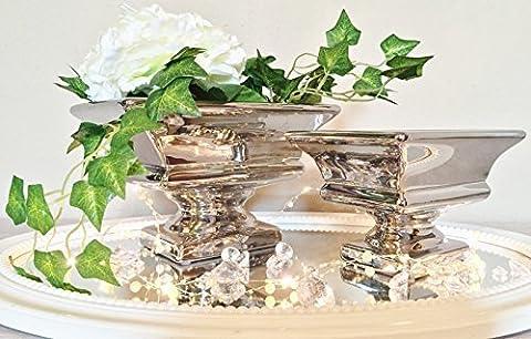 Keramik Dekoschale Dekoschalen Schale Silber Tisch Deko Schalen Keramikschale (Eckig / Silber /