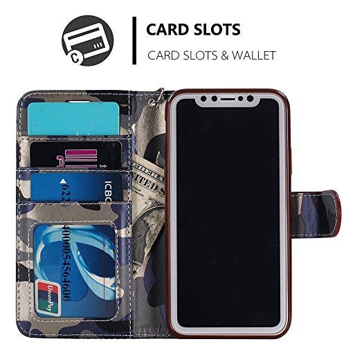 iPhone 6 6s 7 Plus Samsung Galaxy S7 Edge S8 + Plus Case Hülle Kunst Leder Brieftasche mit Kreidt Karten Fächer Geldscheinfach Premium Börse Tasche Handy Schutzhülle,4 Farben Blau