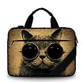 Luxburg® Design Gepolsterte Business- / Laptoptasche Notebooktasche bis 15,6 Zoll mit Schultergurt, Mehrzwecktasche, Motiv: Mieze Cool