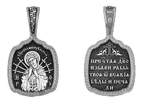 Religion Orthodoxe & # x2626; Medaille Anhänger Symbol der sainte-vierge Abrundung der Herzen bösen (mit sieben Pfeile) obrázok Silber dm61