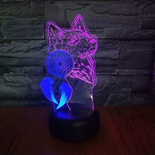 Lámpara De Ilusión, Led Gradiente Táctil De 7 Colores De Luz Nocturna, Lámpara De Mesa De Acrílico 3D De Doble Color Atrapasueños Lámpara De Atmósfera De Lobo