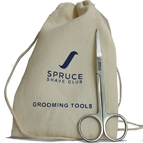 Spruce Shave Club Stainless Steel Moustache & Beard Trimming Scissors (with carry pouch)