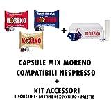 Caffe 'Moreno Mix 300Kapseln Drei Mischungen Nespresso + Kit Zubehör