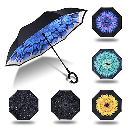 HISEASUN Parapluie Inversé Innovant Anti-UV Double Couche Coupe-Vent Mains Libres poignée en Forme C - Idéal pour Voyage et Voiture(Fleur bleue)