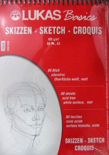 Lukas Basics Skizzenblock DIN A3, 80 Blatt Ringbuch, 100 g/m², Künstlerqualität