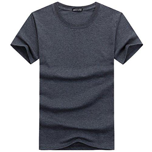 NiSeng Herren Rundhals T-Shirt Casual Einfarbig Kurze Ärmel T-Shirt Einfach Basic T-Shirt Dunkel Grau