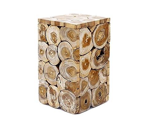 Beistelltisch Teakholz Holz Couchtisch Tisch Massiv Vintage Landhaus Edel Schwer Braun Weiß Schwarz Lackiert Brillibrum Flyer (Tisch - mittel / White (Büro Platz Klapptisch)