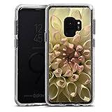 DeinDesign Samsung Galaxy S9 Bumper Hülle silber transparent Bumper Case Schutzhülle Glitzer Look Blume Flower Dahlie