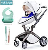 Hot Mom Pushchair 2017, 3 in 1 Baby Stroller Travel System With Bassinet White(blue)