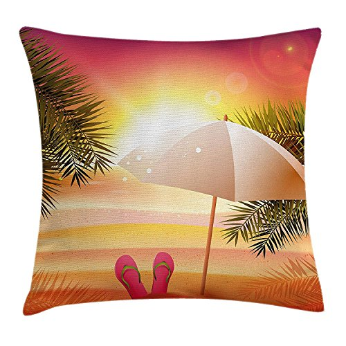 case YLIOWRC Orange Throw Pillow Cushion Cover, Sunset at The Beach with Flip Flops Umbrella and Palm Trees Illustration, Decorative Square Accent Pillow Case, 18 X 18 inches, Orange and Yellow