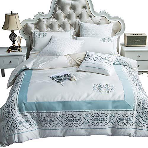 RENYAYA Orientalische Stickerei ägyptischen Cotton Luxury Bedding Set Queen King Größe Bed Set Duvet Cover Bed Sheet Set Pillowcase,200 * 230cm (König Cotton Bed Sheet Sets)