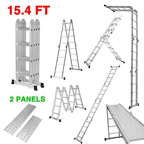 Finether-4.7M Escalera Plegable (15.4 FT, Multi-propósito Extensible, Buena Calidad, Mayor Seguridad, Aluminio) (Con Panel)