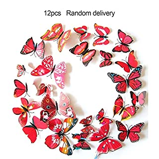 VCB 12PCS 3D PVC Magnet Butterfly DIY Wall Sticker Removable Refrigerator Magnets - yellow