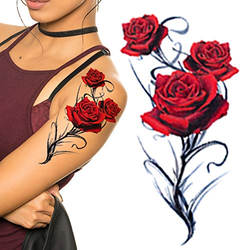 Red Roses Flower For Adult Women Body Leg Back Rose Temporary Tattoo Transfer Paper Body Art Sleeve Sticker Buy Online In Burkina Faso Missing Category Value Products In Burkina Faso