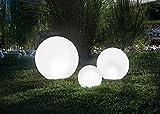 BUVTEC Qualitäts Solar Leuchtkugel 3er Spar-Set 20, 30 und 40 cm, Dauer- oder Wechsellicht 7 Lichtfarben 8 Std. Leuchtdauer