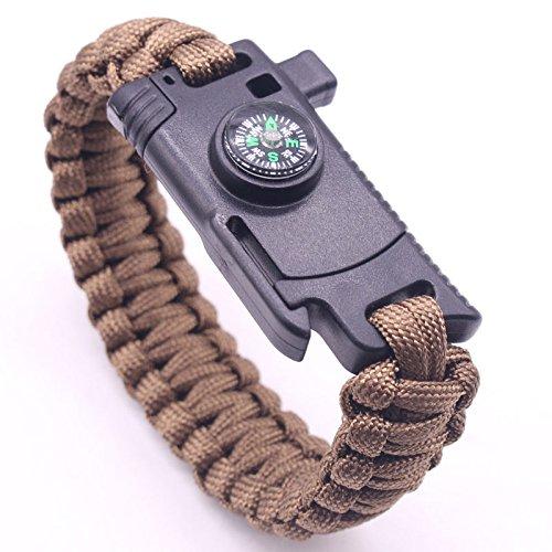 MLL Regenschirm Seil Armband Messer im Freien Feuer Messer Multi-Funktions-Hand Seil Camping Überleben Outdoor-Abenteuer Notfall Armband Armband,braun,A