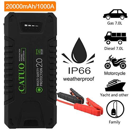 Catuo Avviatore di Emergenza 20000mAh 1000A Benzina o Diesel 7L, Gas 7L Portatile con Linterna LED, DC Adattatore e Porte USB per Auto/Moto / Telefono/Laptop
