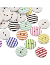Pandahall-Raya redonda plana Impreso botones de madera con ojales, color mixto, 15x3mm, agujero: 2 mm