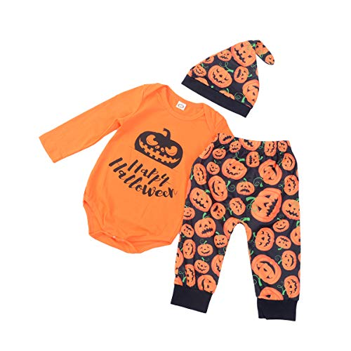 Hexe Monate Baby 3 Kostüm 6 - WangsCanis Neugeborenes Baby Halloween Kostüme Kürbis Brief Strampler Hosen Hut 3er Outfits Kleidung Set (Orange-Fröhliches Halloween, 3-6 Monate)
