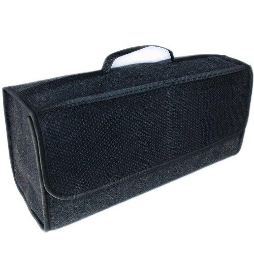 Handycop® Kofferraumtasche Groß Schwarz Filz Werkzeugtasche mit Klett 25,5 x 48 x 15,5 cm haftet an Kofferraumverkleidung & Boden 25.5