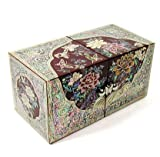Wooden jewelry box with hidden drawers, Mother of pearl jewellery box, Handmade lacquer Red peony
