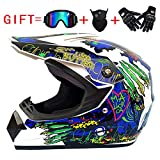 MJW Dual Sport Motocross-Helm und Erwachsene MX Motocross-Handschuhe, B, M