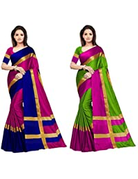 Best Collection Sarees Women's Pack Of 2 Sarees Cotton Silk Saree With Blouse (Pack Of Two Sari)