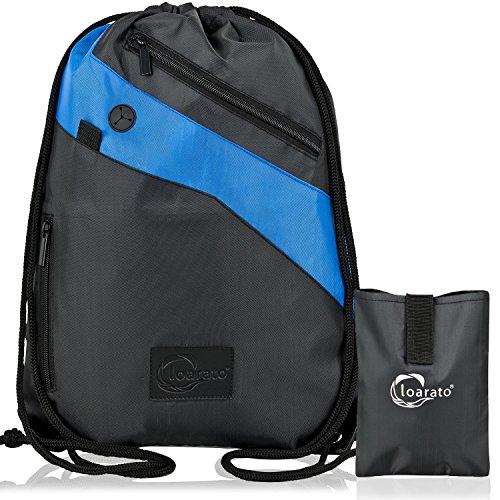 Loarato Sportbeutel – Premium Turnbeutel mit sicheren Staufächern und Reißverschluss – Kopfhörer-Eingang - wasserabweisend inkl. Transport-Beutel (schwarz-blau)