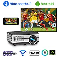 2019 EUG HD LED LCD Multimedia Movie Gaming Projector with HDMI USB VGA AV Audio Built-in Speakers Support 1080P for Smartphone DVD Tablet Laptop PC Wii PS4 Xbox TV Roku Indoor Outdoor