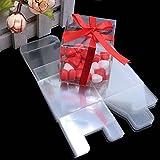 Yalulu 50 Stücke Kunststoff Transparent Süßigkeit Kästen Geschenkboxen Hochzeit Bonbons Boxen für Partys Geschenk Taufe Hochzeit Geburtstag