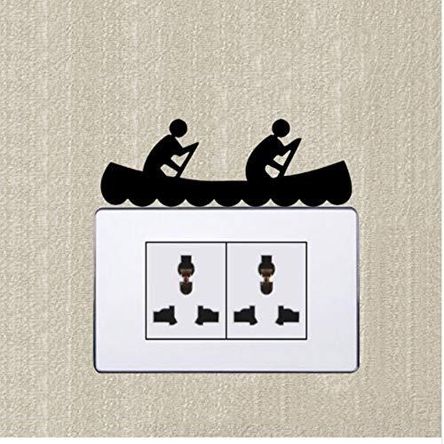 WFYY 5 stück Schalter Aufkleber wandaufkleber DIY Tier rennen kanu für Zwei Vinyl lichtschalter Wand Dekoration Aufkleber