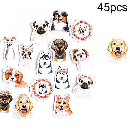 Luo-401XX 45 Stück Scrapbooking Aufkleber, Schöne Hunde Muster Selbstklebende Dekorative DIY Hand Konto Aufkleber Für Notebook, Journal, Kartenherstellung, Briefe -