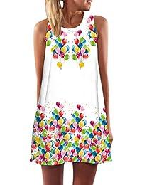 2bcf74e732cd2 Vestidos de Verano Cortos Mujer Vestido de Diario Boho Estampados Flores  Corto Rectos Casuales Mini Vestidos Playeros sin Mangas Diarios…