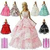 ZITA ELEMENT 12 Stück Puppenzubehör für Fashionistas Barbie Puppe Hochzeitskleid Abendkleider Spitzenkleider Partykleider mit Kleiderbügel Ballkleid Prinzessin Puppenkleidung Kleider