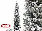 Monviso, albero di Natale slim con neve da 150 cm, 180 cm o 210 cm